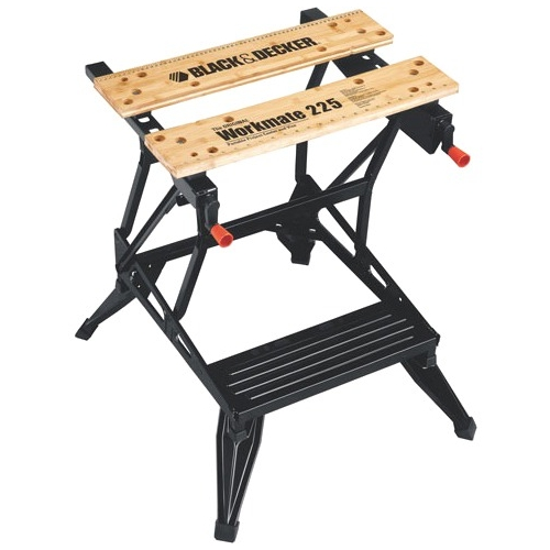 Black & Decker Workmate Portable Project Center and Vise - 450 lb Load Capacity - Steel, Steel, Wood, Rubber Frame, Leg, Tabletop, Feet