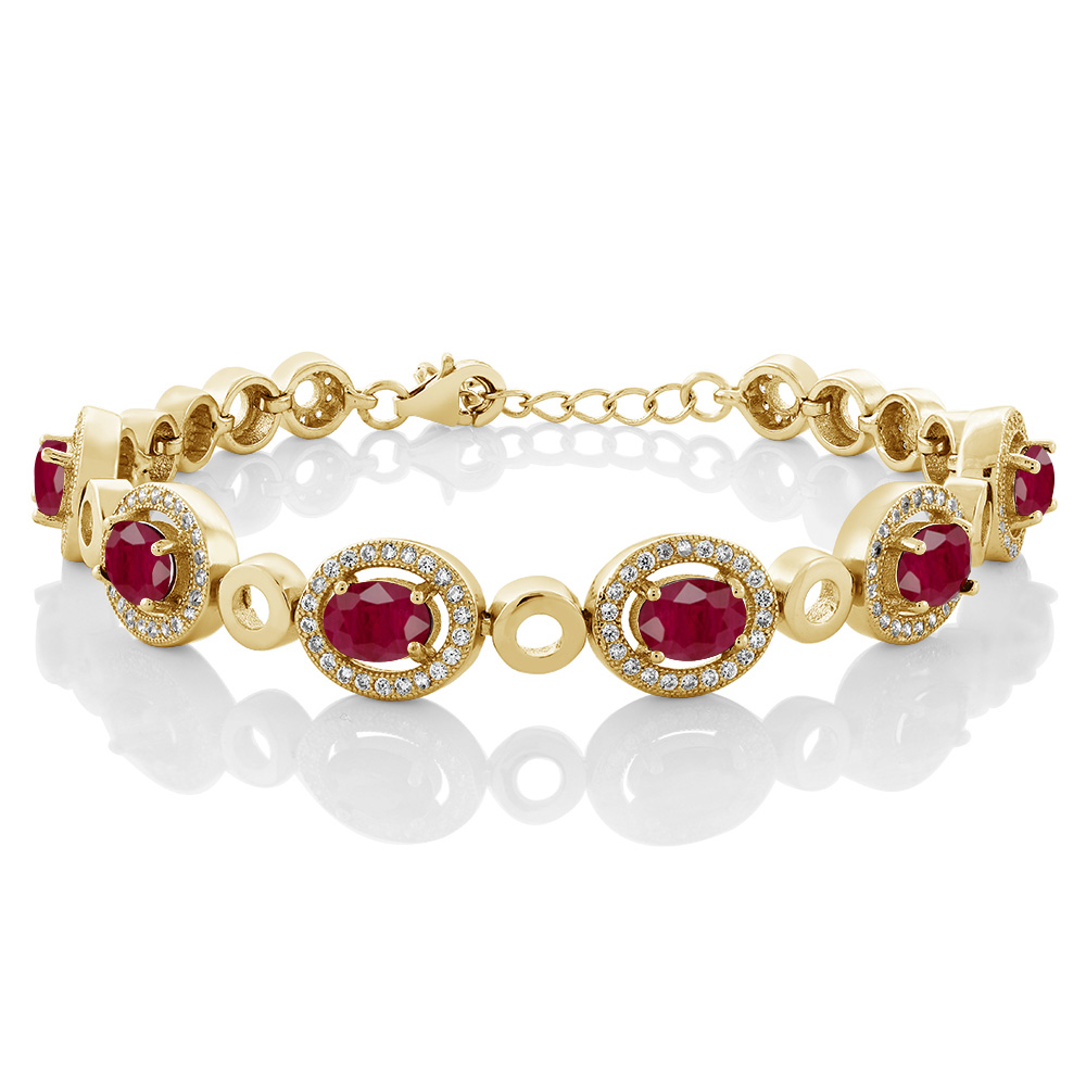 8.04 Ct Oval Red Ruby 18K Yellow Gold Plated Silver Bracelet by