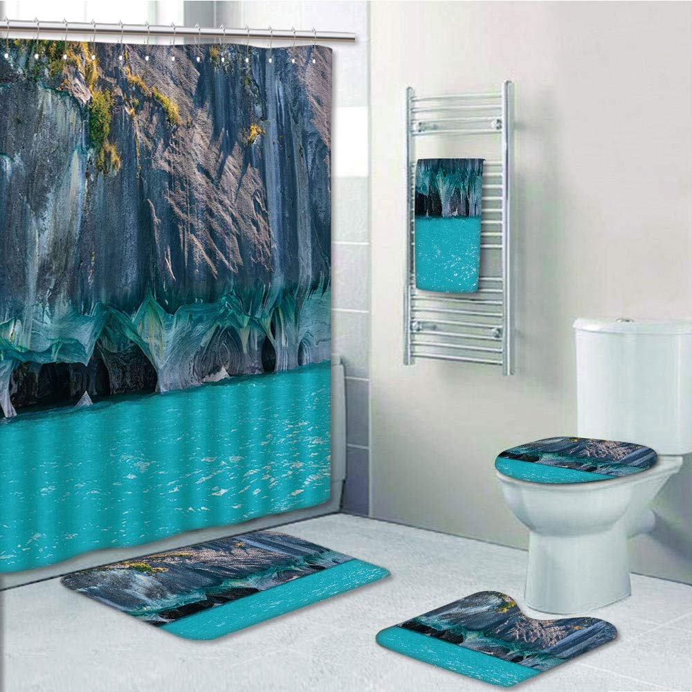 Marble blue green white Shower Curtain Toilet Cover Rug Mat Contour Rug Set