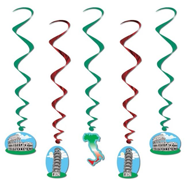 Beistle 57597 Italian Whirls - Red White and Green Pack of 6