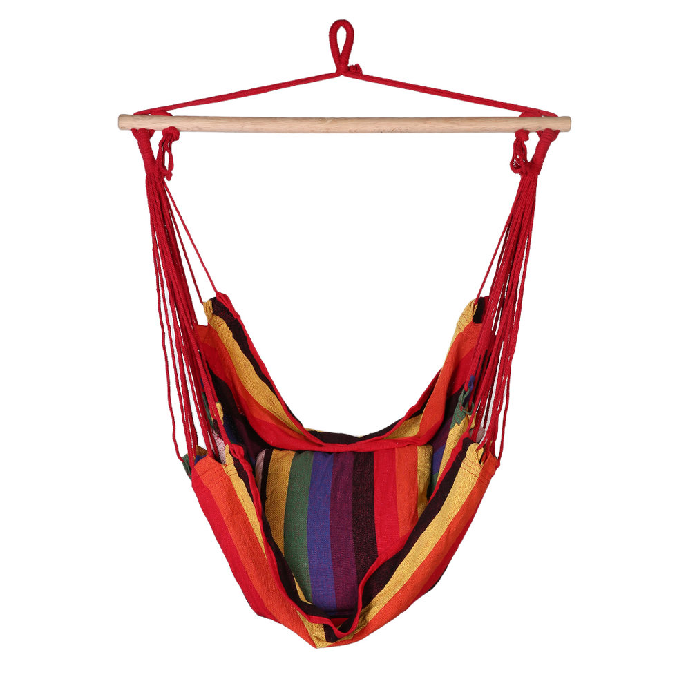 Outdoor Cotton Striped Hammock Hanging Rope Chair Patio Porch Swing Seat