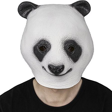 Novelty Latex Rubber Creepy Panda Head Mask Halloween Party Costume Decorations