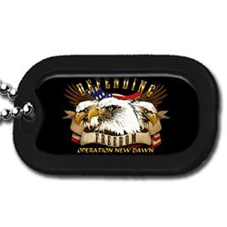 United States Defending Freedom Operation NEW Dawn Eagle Usa Flag Unit Division Rank Logo Symbols - Military Dog Tag Luggage Tag Key Chain Metal Chain Necklace (Military Dog Tags For Men)