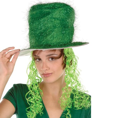 Slash Wig And Top Hat (Pack of 6 Green Tinsel Top Hat with Lime Green Curly Wig - Adult)