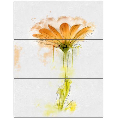 Design Art 'Orange Gerbera Sketch Watercolor' 3 Piece Wall Art on Wrapped Canvas Set