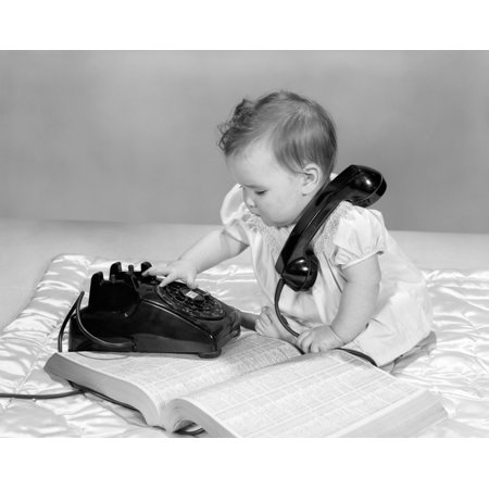 1960s Baby Girl With Telephone Book Dialing Rotary Telephone Poster Print By Vintage Collection