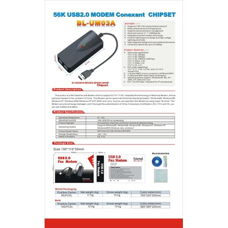 USB 56K Fax Voice Data External Modem Dual Port