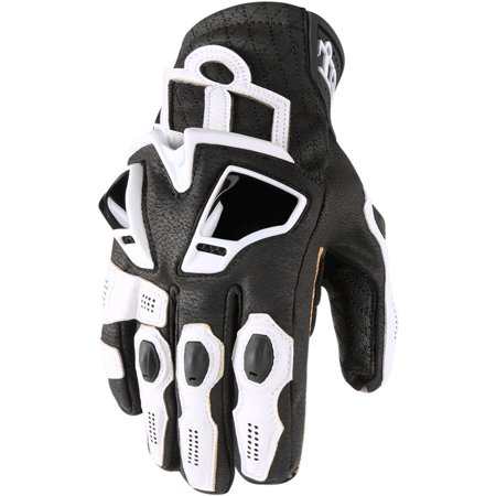 Icon Hypersport Short Mens Leather Gloves White (Icon Merc Short Motorcycle Glove)