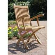 """Set of 2 Natural Teak Rockport Outdoor Patio Folding Chairs with Arm Rests 36"""""""