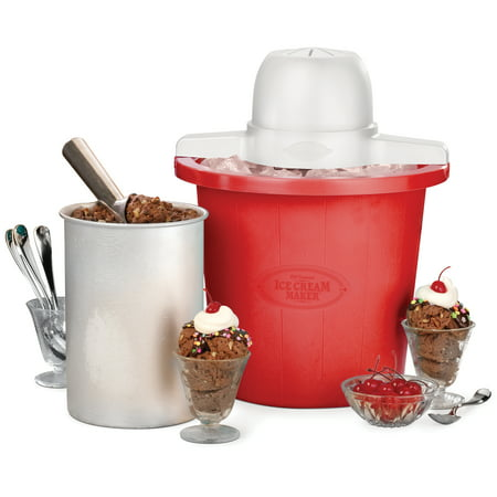 Nostalgia 4-Quart Red Bucket Electric Ice Cream Maker, ICMP4RD