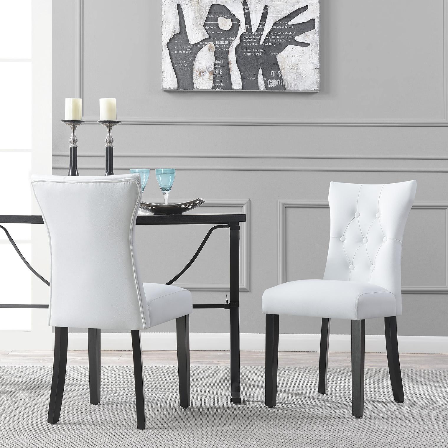 Belleze Elegant Upholstered Dining Modern Chairs w/ Button Tufted Backrest (Set of 2) White