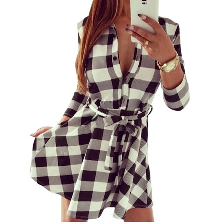 - Women Fashion Lapel Collar Plaid Long Sleeve Belted Dress Spring Summer