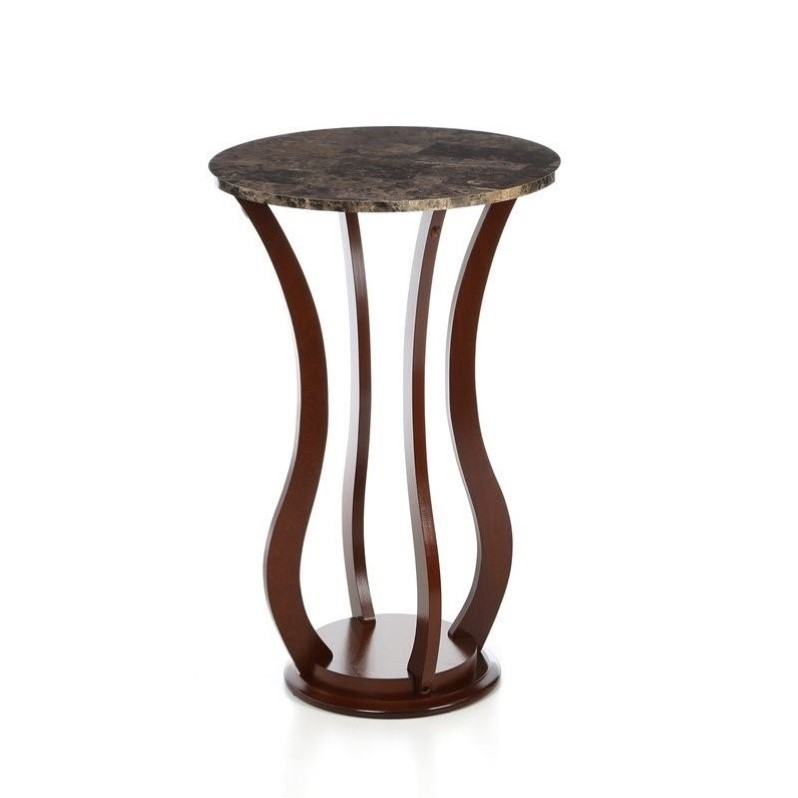 Kingfisher Lane Round Faux Marble Top Plant Stand