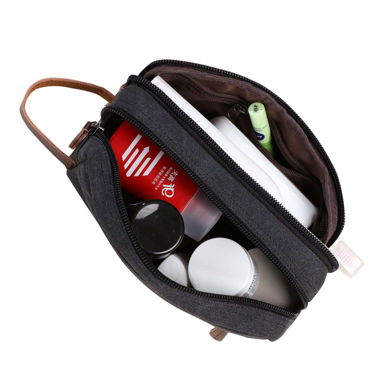 Mens Travel Toiletry Bag Canvas Leather Cosmetic Makeup Organizer Shaving  Dopp Kits with Double Compartments (Black) - Walmart.com ae32303de6f15