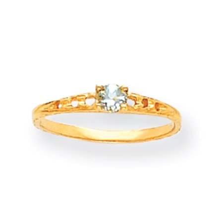 - 14k Yellow Gold 3mm Aquamarine Birthstone Baby Ring
