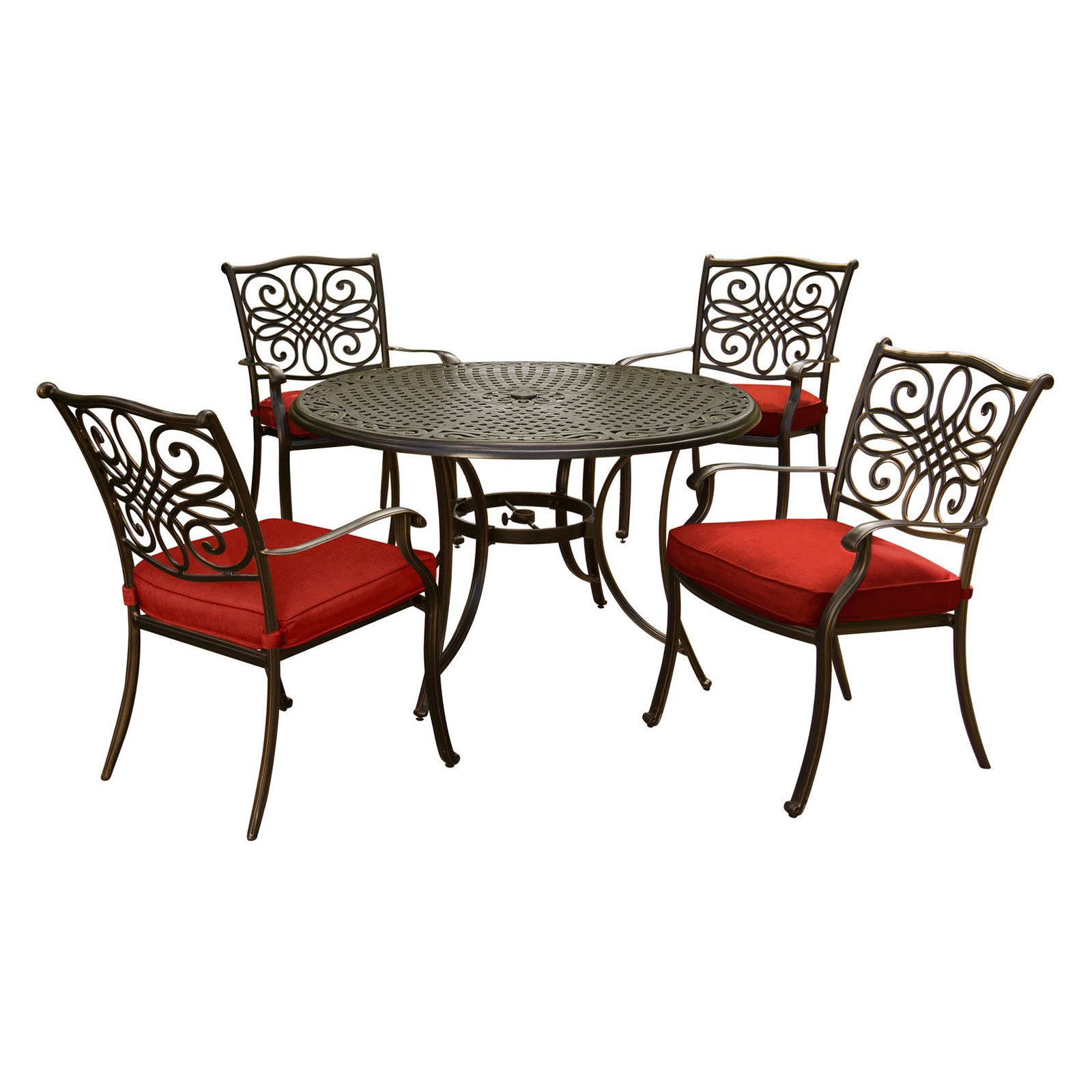 Hanover Traditions 5-Piece Outdoor Dining Set with Round Cast-Top Table and 4 Stationary Chairs