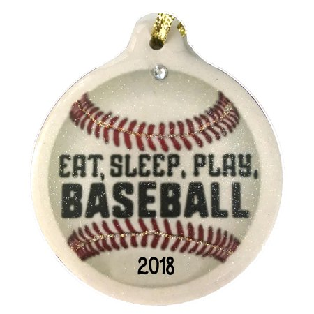 Baseball Eat Sleep Play 2018 Porcelain Ornament Gift Boxed Christmas Sports - Baseball Christmas