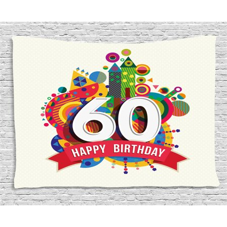 60th Birthday Decorations Tapestry, Modern Geometric Fairytale Theme Castle Boat Sixty Party Image, Wall Hanging for Bedroom Living Room Dorm Decor, 80W X 60L Inches, Multicolor, by - Castle Decoration