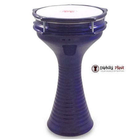 Zaza Percussion 16'' Blue Turkish Aluminum Darbuka Doumbek, Synthetic Head and Internal - Turkish Doumbek