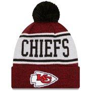 Kansas City Chiefs New Era Banner Cuffed Knit Hat with Pom - Red/Black - OSFA
