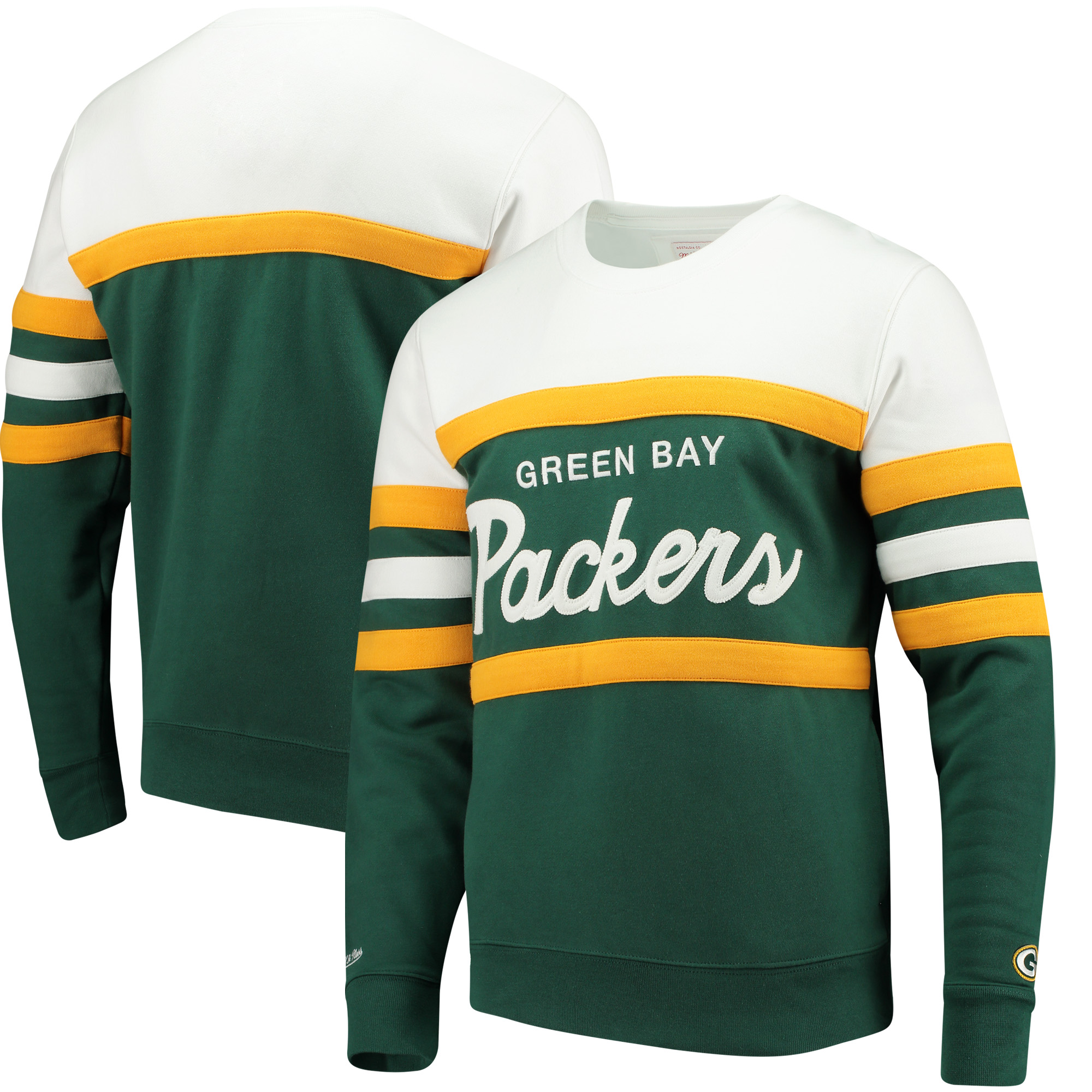 more photos 6cfb2 696c5 Green Bay Packers Mitchell & Ness Head Coach Crew Sweater - Green