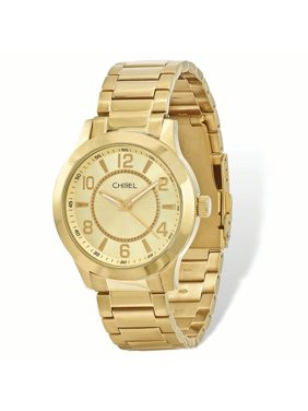 a557869bf1a33 Product Image Primal Steel Mens Chisel IP-plated Stainless Steel Gold Dial  Watch