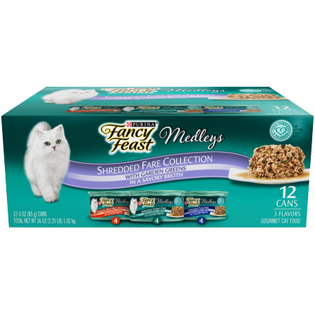 Fancy Feast Wet Cat Food Variety Pack, Medleys Shredded Fare Collection - (12) 3 oz. Cans