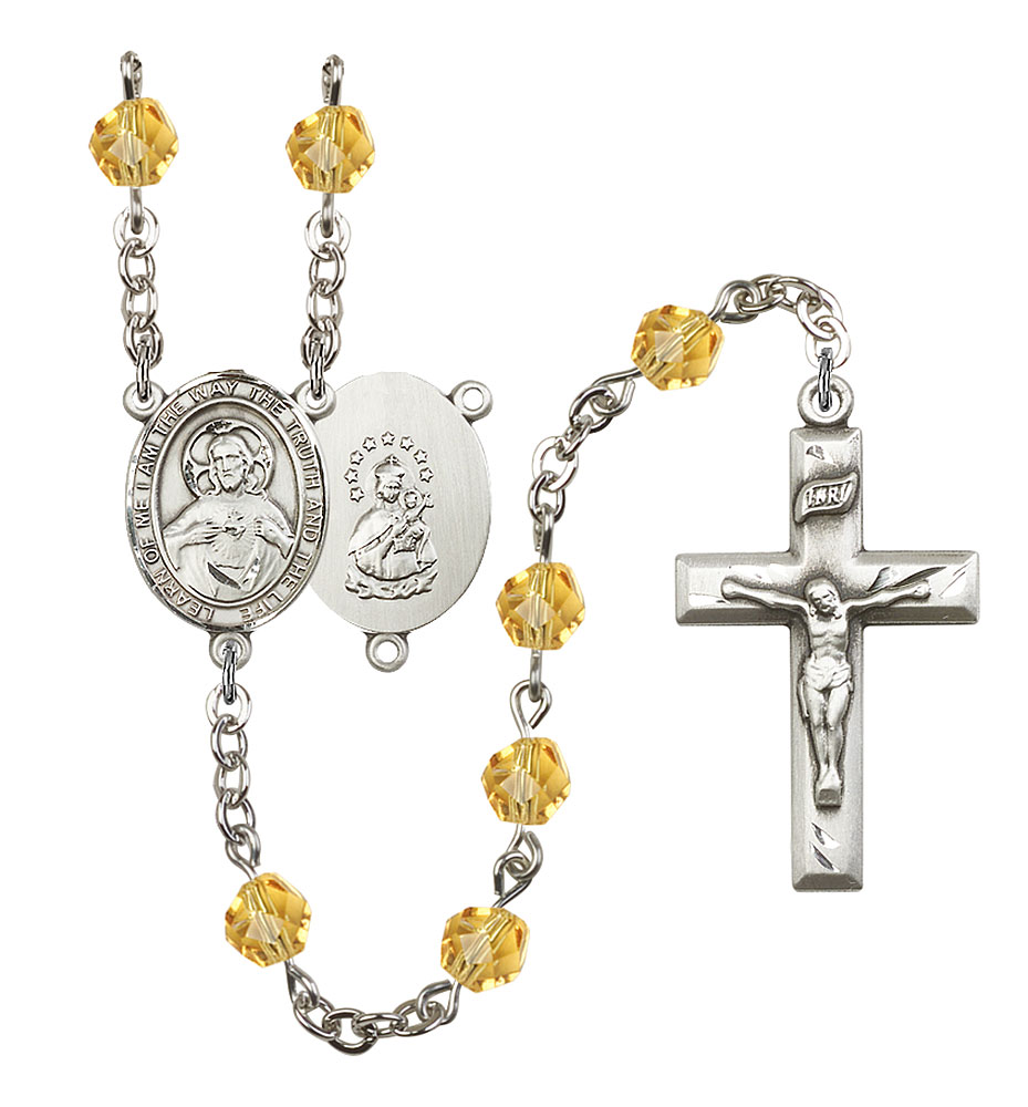 Scapular Rosary Plated in Silver with 6mm Topaz Fire Polished Beads by Bliss Mfg. Made in the USA!