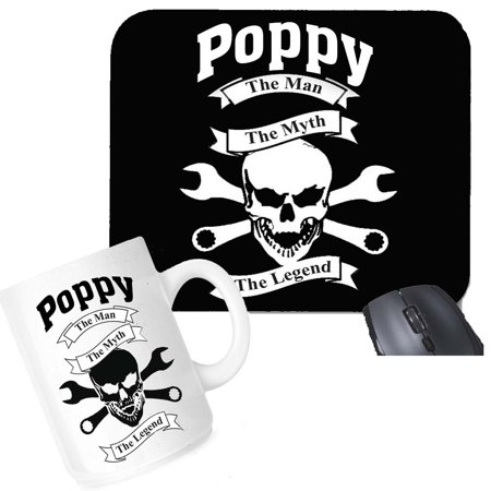 The Office Gift Set (Poppy The Man The Myth The Legend Mouse Pad Coffee Mug Office Set Gift Package)