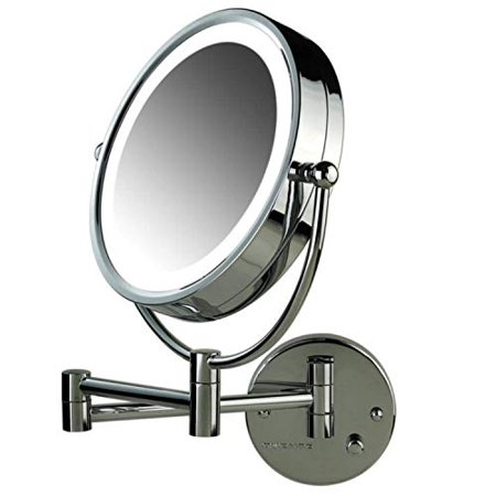 Chrome Natural (Ovente Lighted Wall Mount Mirror, 8.5 Inch, Dual-Sided 1x/7x Magnification, Hardwired Electrical Connection, Natural White LED Lights, 9-Watts, Polished Chrome (MPWD3185CH1X7X) )