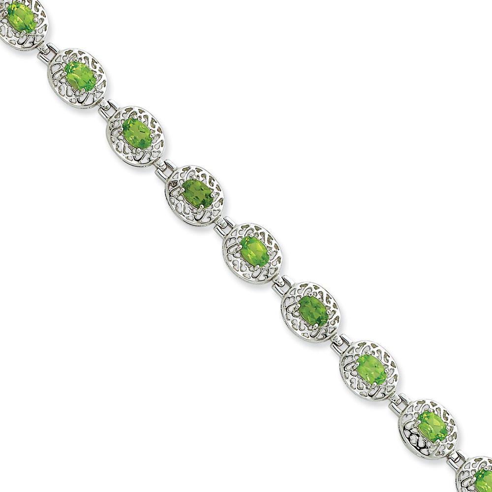 Sterling Silver Peridot Filigree Bracelet 7 Inch Box Clasp by