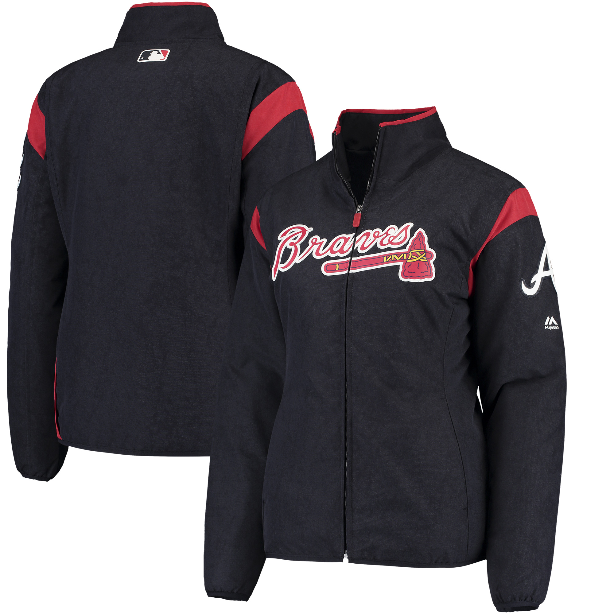 Atlanta Braves Majestic Women's On-Field Thermal Jacket - Navy