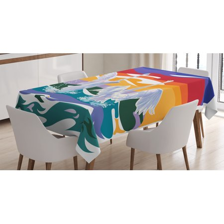 Swamp Backdrop (Animal Decor Tablecloth, Funky Style Image of Swan Couple Swimming Sea Rainbow Color Sky Backdrop Print, Rectangular Table Cover for Dining Room Kitchen, 60 X 84 Inches, Multi, by)