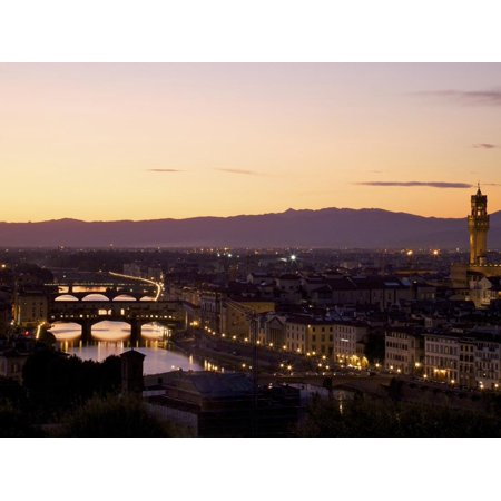 Ponte Vecchio, River Arno and Palazzo Vecchio in Evening Light from Piazzale Michelangelo, Florence Print Wall Art By Peter (Paint Colors That Go Well With Revere Pewter)