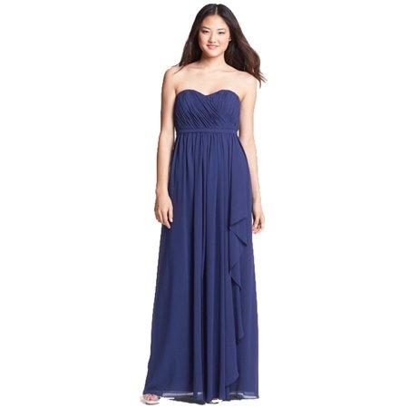 Donna Morgan Lily Strapless Draped Chiffon Dress Midnight Navy 14 (Donna Morgan Silk Chiffon)