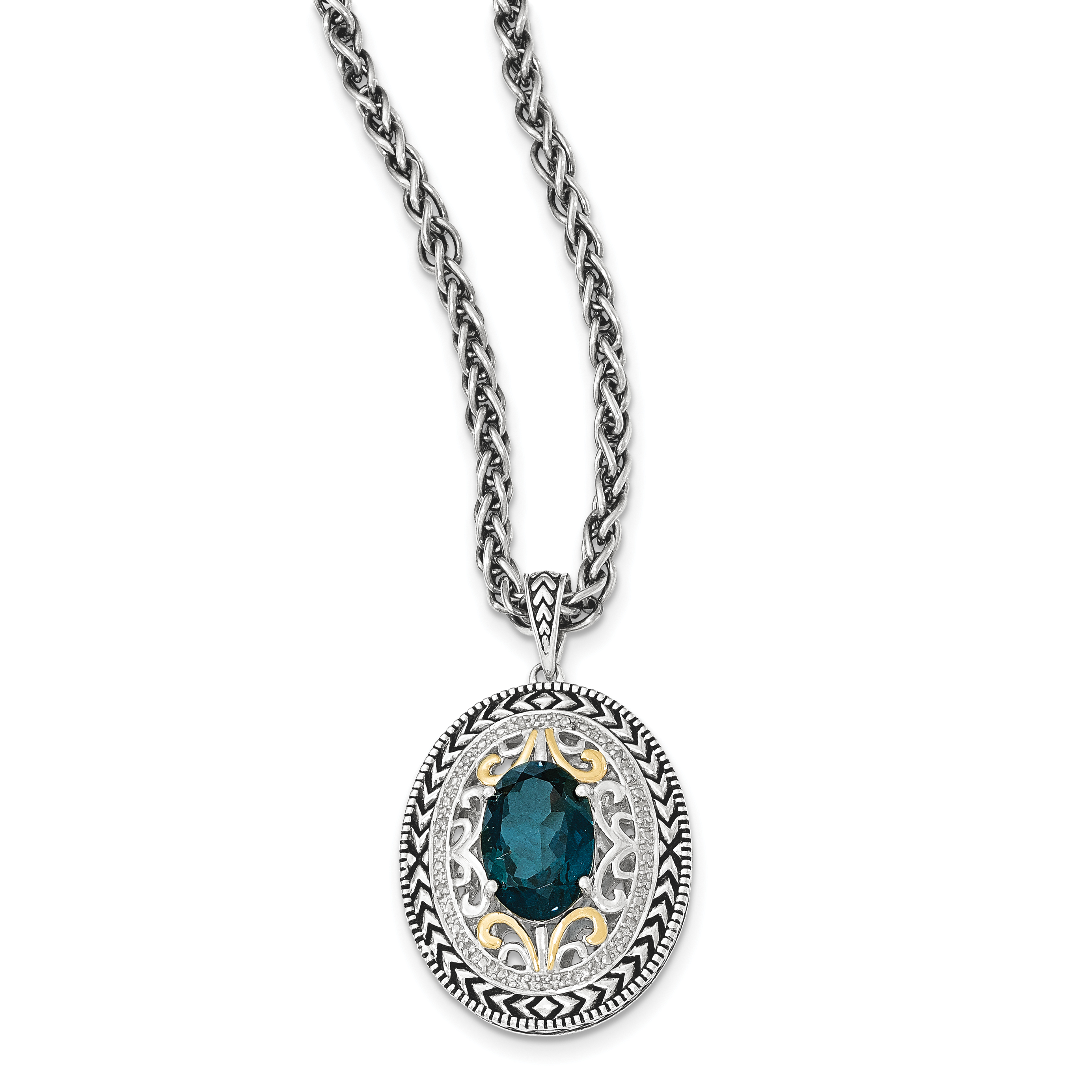 14k  Silver Two-Tone w  London Blue Topaz Necklace by