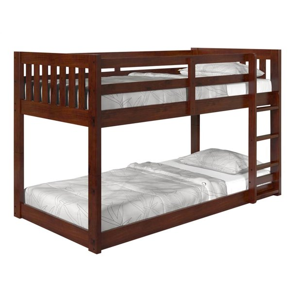 Twin Over Low Mission Bunk Bed In Dark Chocolate Walmart Com