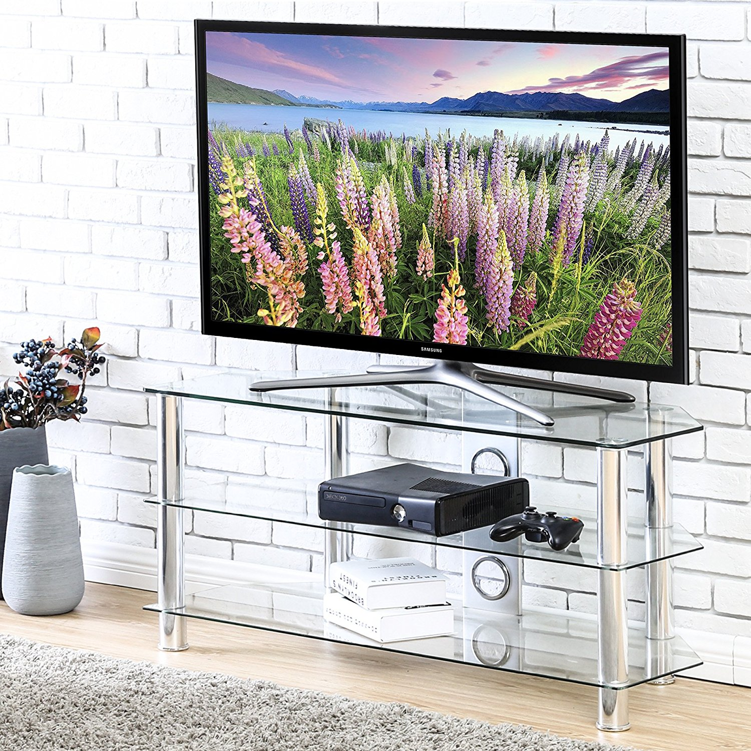FITUEYES Glass Floor TV Stand for up to 50 inch Samsung Vizio Plasma LED LCD Oled TV TS310501GT