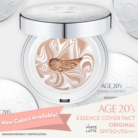 Age 20's Compact Foundation Premium Makeup, Case + 1 Refill - Pink Latte Essence Cover Pact SPF50+ (Made in Korea) - White/Nude Beige (Color 21) (Makeup Compact Foundation)