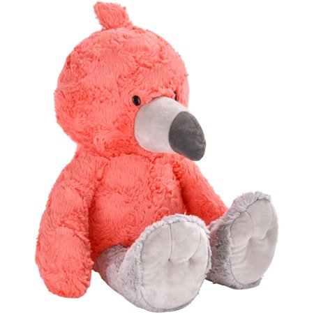 Spark. create. imagine. flamingo plush animal, coral with gray (14 In Plush)