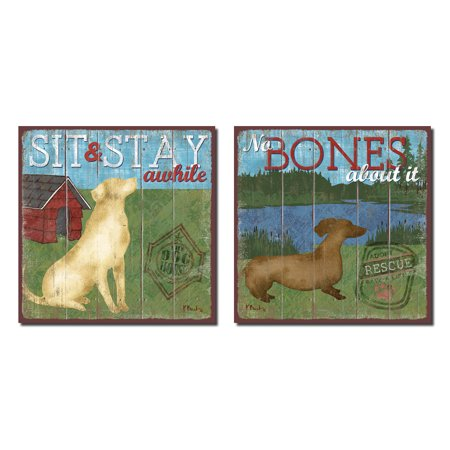 (Dog Lover Signs; Sit and Stay; No Bones About It; Two 12x12 Poster Prints)