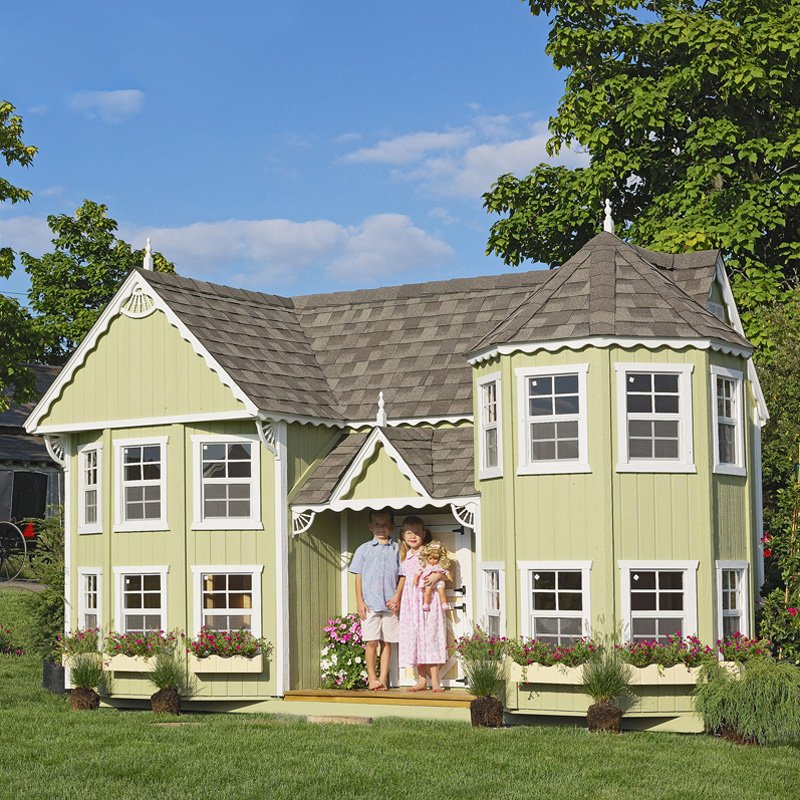 Little Cottage Sara Victorian 10 x 18 Mansion Wood Playhouse by Little Cottage Co