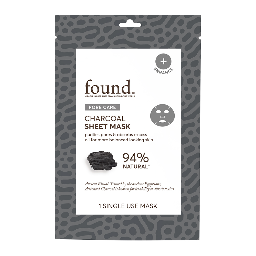 FOUND PORE CARE Charcoal Sheet Mask, Single Use, 6 pcs multipack