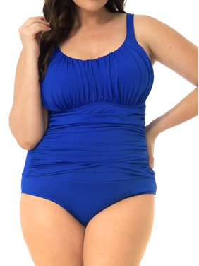Women's One-Piece Swimsuit - Ruched Top and Sides - Royal Size: 18W