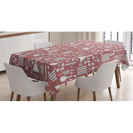 Apothecary Tablecloth, Alchemy Elements Leaves Roots and Experiment Glasses Alternative Science, Rectangular Table Cover for Dining Room Kitchen, 60 X 84 Inches, Dried Rose White, by Ambesonne