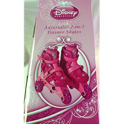 disney princess adjustable 2-in-1 trainer skates, sizes j6-j9 - 161151