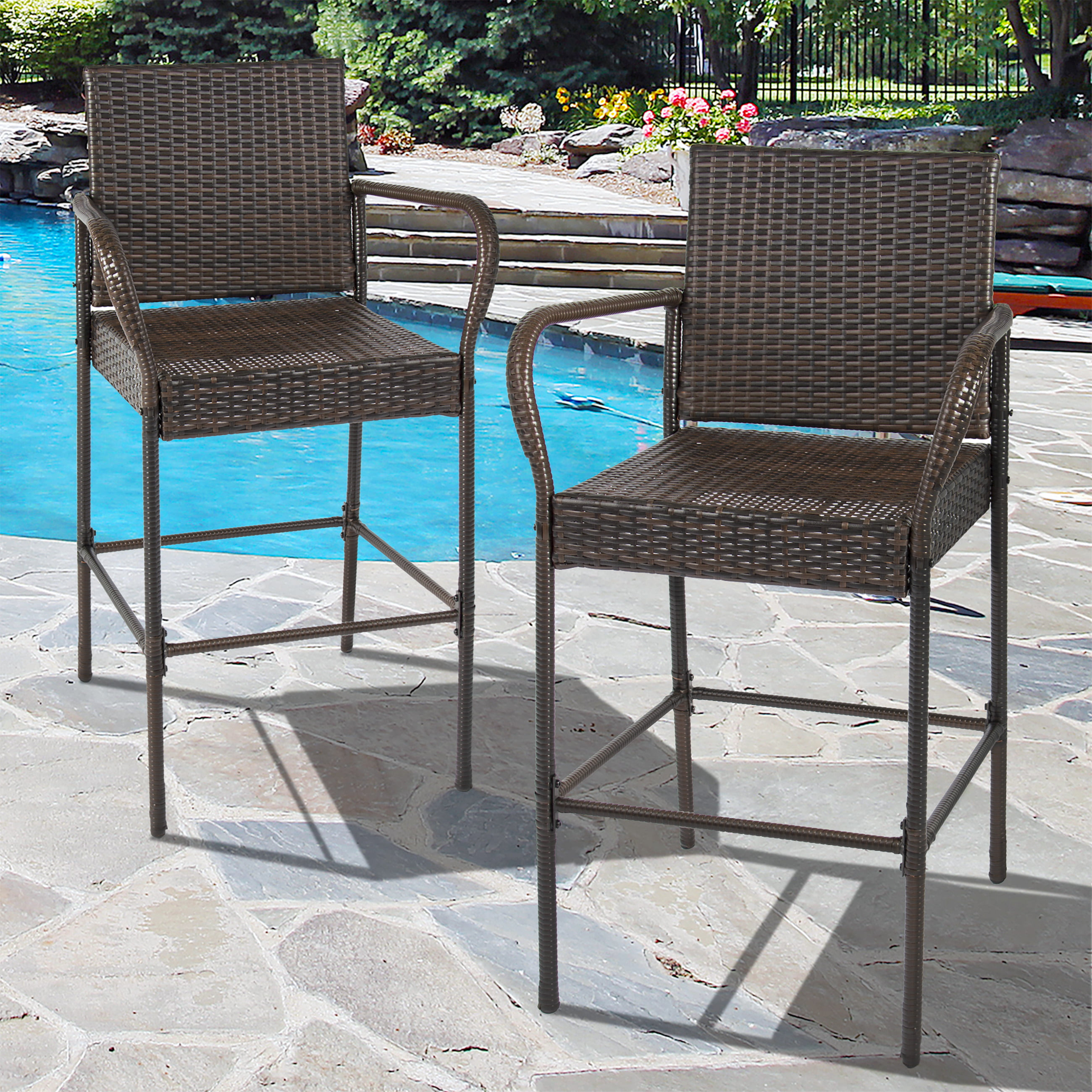 Best Choice Products Set of 2 Outdoor Brown Wicker Barstool Outdoor ...