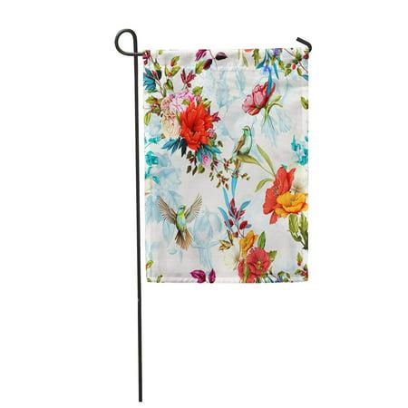 NUDECOR Poppy Wild Flower Roses Nightingale Birds Leaves on Humming Garden Flag Decorative Flag House Banner 28x40 inch - image 1 de 1