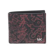 Michael Kors Mens Faux Leather Card Case Bifold Wallet Black O/S