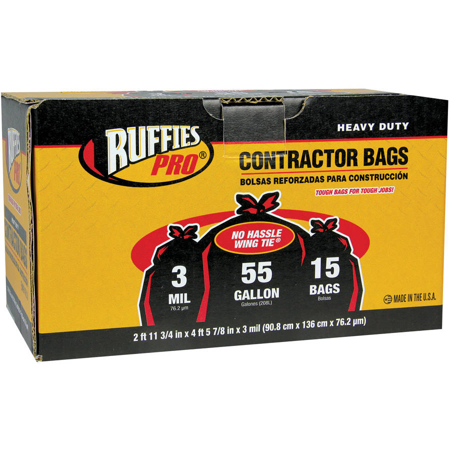 Ruffies Pro Heavy Duty Contractor Bags, 55 gal, 15 count